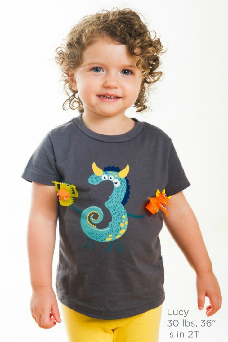 The cutest monster 3rd birthday shirt! Monster finger puppets snap on and off this fun third birthday shirt for play on-the-go. Perfect for milestone photos, the birthday party, and any day after. #birthdaygirl #birthdayboy #toddlerbirthday #monsterparty #monsterbirthday
