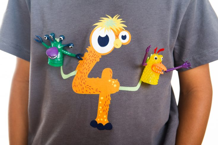 Such a fun monster 4th birthday shirt! Monster finger puppets snap on and off for playtime anywhere. #birthdaygirl #birthdayboy #toddlerbirthday #monsterparty #monsterbirthday