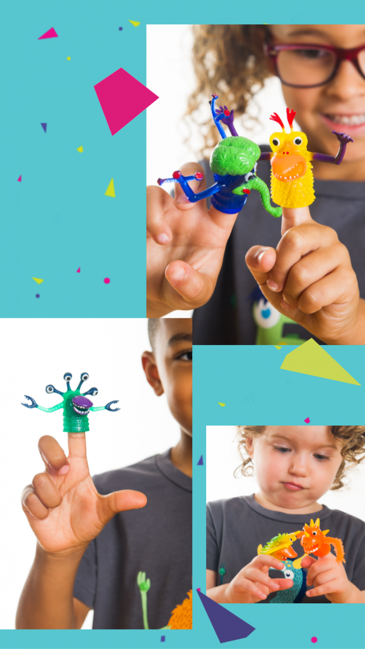 These monster finger puppets are so versatile. They are perfect monster party favors, cake or cupcake toppers, photo booth props, puppet show actors, and just plain fun. #monsterparty #monsterbirthday