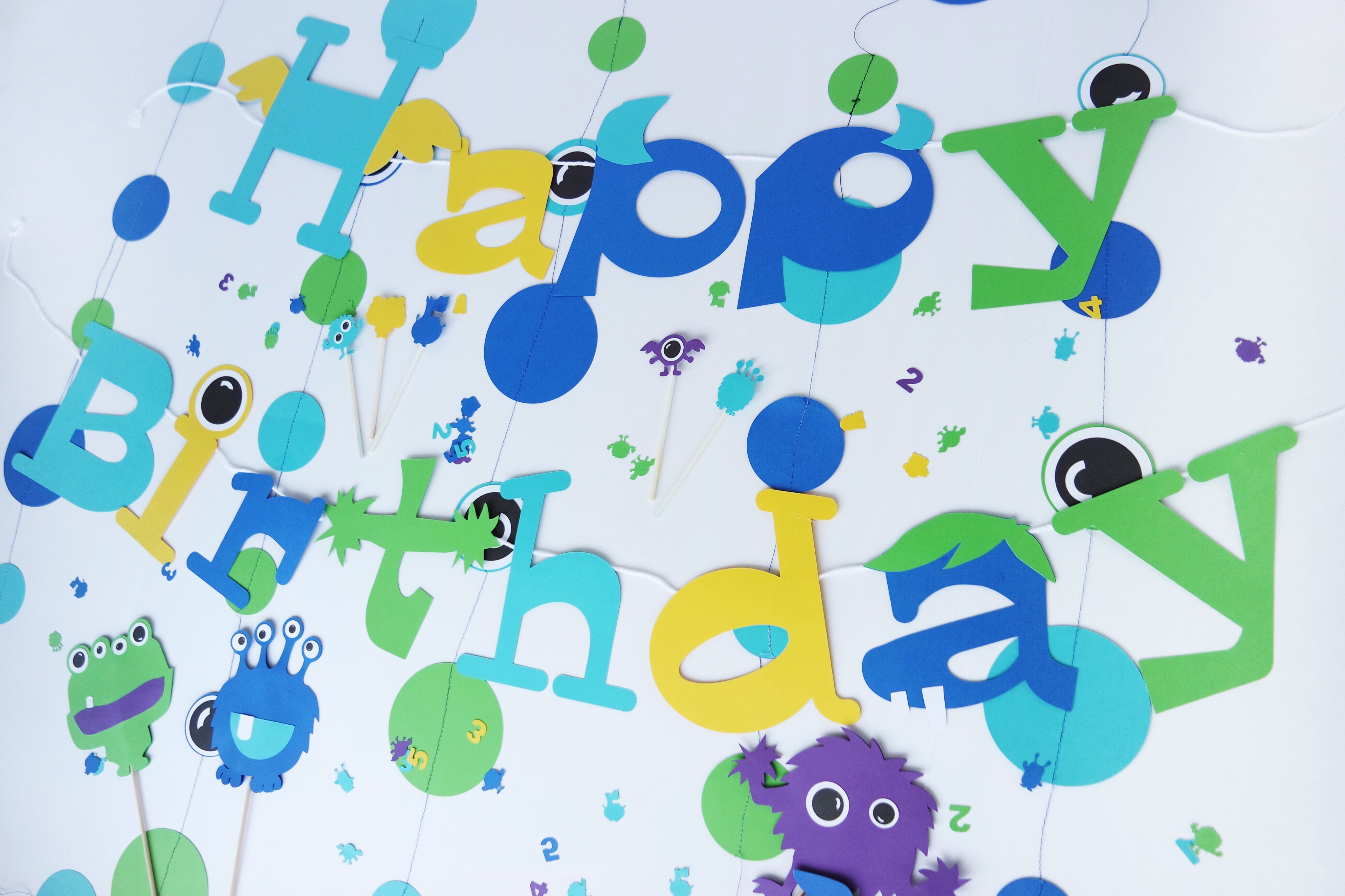 Monster birthday party decor from Party At Your Door // Little Monster Birthday Party Ideas - fun decoration and sweets ideas for baby & toddler monster parties