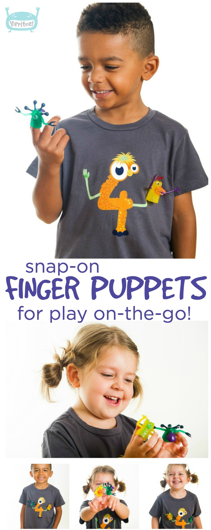 The coolest monster 4th birthday shirt there ever was! Detachable finger puppets snap on and off to keep your kiddo entertained anywhere. // 4th birthday shirt, 4 year old birthday shirt, fourth birthday shirt, four year old birthday shirt, 4th birthday t-shirt, kids birthday shirts, birthday girl shirt, birthday boy shirt, toddler birthday shirt #birthdayshirt #kidsbirthdayshirts #birthdaygirl #birthdayboy #toddlerbirthday #monsterparty #monsterbirthday