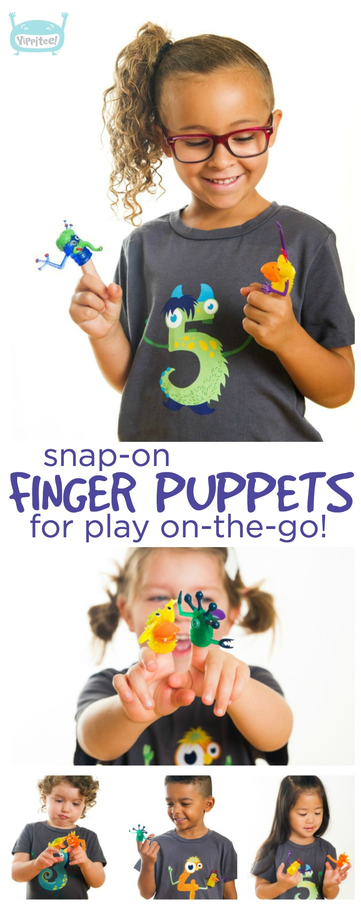 The coolest monster 5th birthday shirt there ever was! Detachable finger puppets snap on and off to keep your kiddo entertained anywhere. // 5th birthday shirt, 5 year old birthday shirt, five year old birthday shirt, fifth birthday shirt, fifth birthday t-shirt, kids birthday shirts, birthday girl shirt, birthday boy shirt #birthdayshirt #kidsbirthdayshirts #birthdaygirl #birthdayboy #monsterparty #monsterbirthday