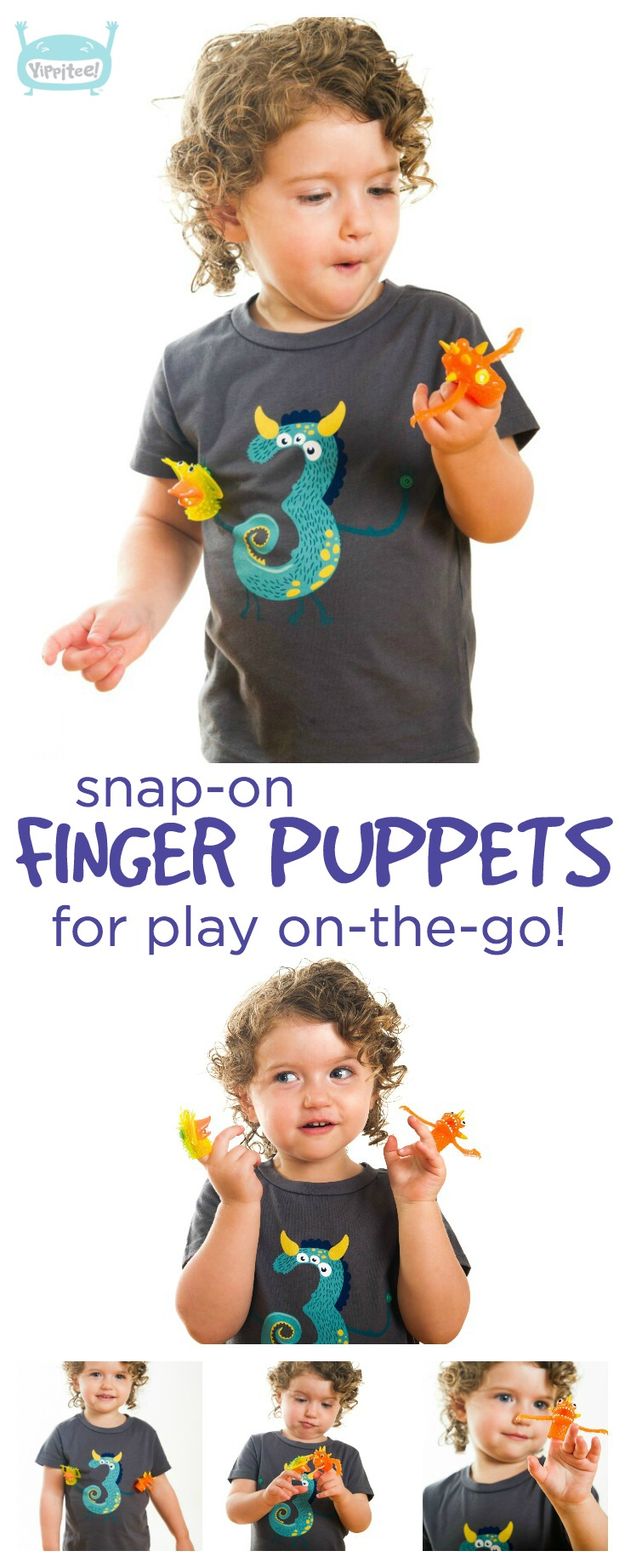 The coolest monster 3rd birthday shirt there ever was! Detachable finger puppets snap on and off to keep your kiddo entertained anywhere. // three year old birthday shirt, 3 year old birthday shirt, 3rd birthday shirt, third birthday shirt, kids birthday shirts, birthday girl shirt, birthday boy shirt, toddler birthday shirt #birthdayshirt #kidsbirthdayshirts #birthdaygirl #birthdayboy #toddlerbirthday #monsterparty #monsterbirthday