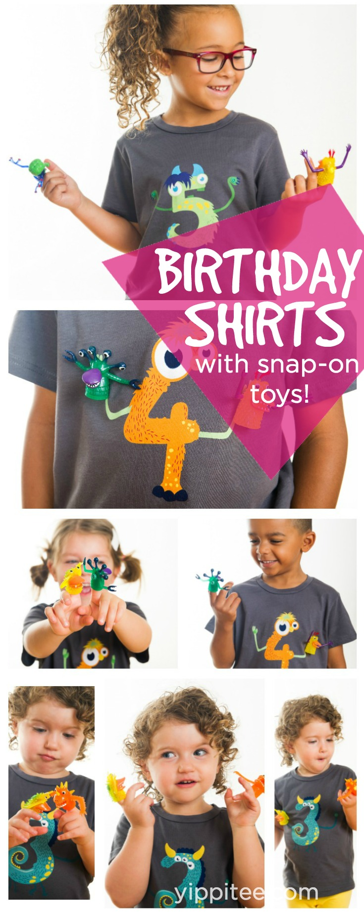 Adorable birthday shirts for kids with toys that snap on and off!