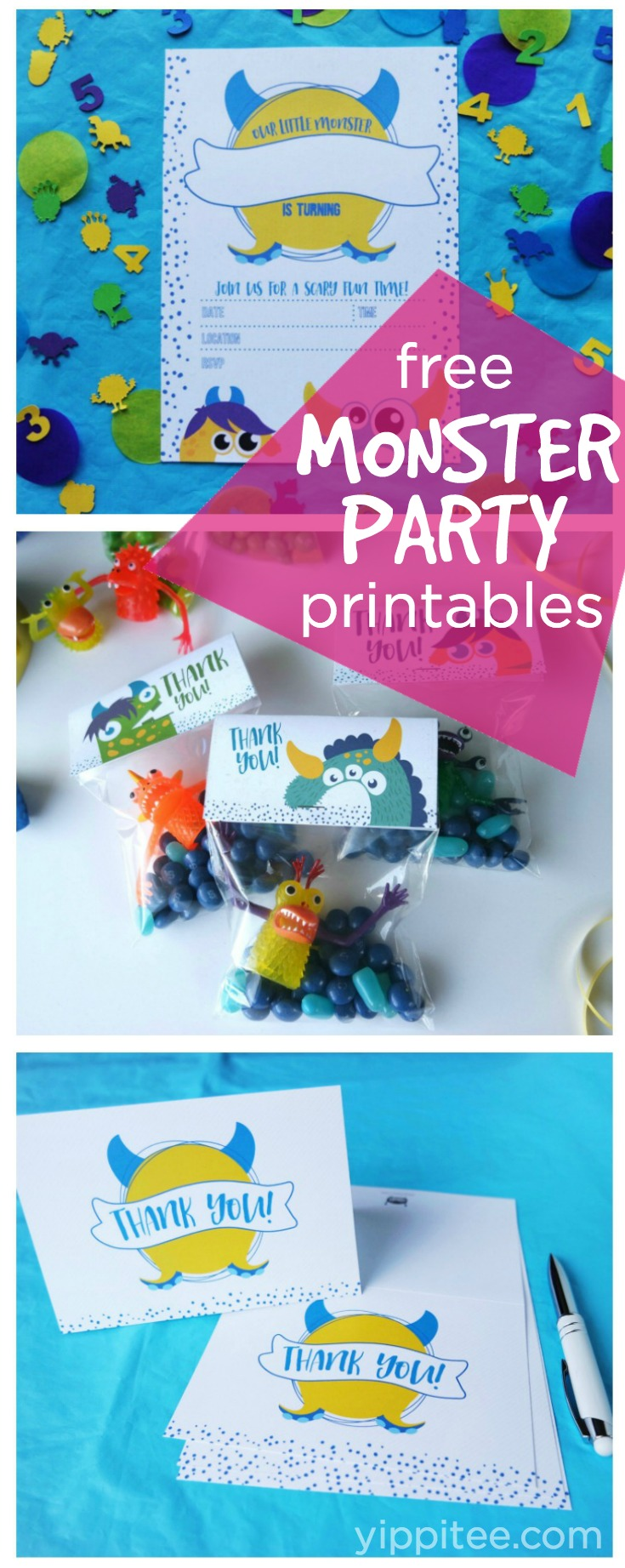 Monster birthday party supplies: 3 free monster party printables including an invite, party favor bag tag, and thank you card to download and print at home.