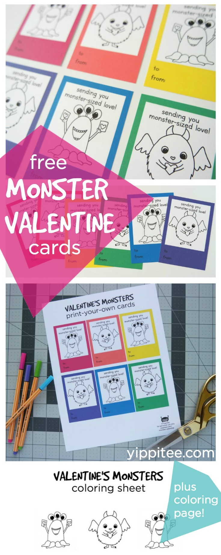 Adorable monster Valentine cards you can print-at-home and let your little ones color in before giving to their friends. Perfect by themselves or attach any of the cute monster Valentine goodies listed in this post for an extra sweet gift.