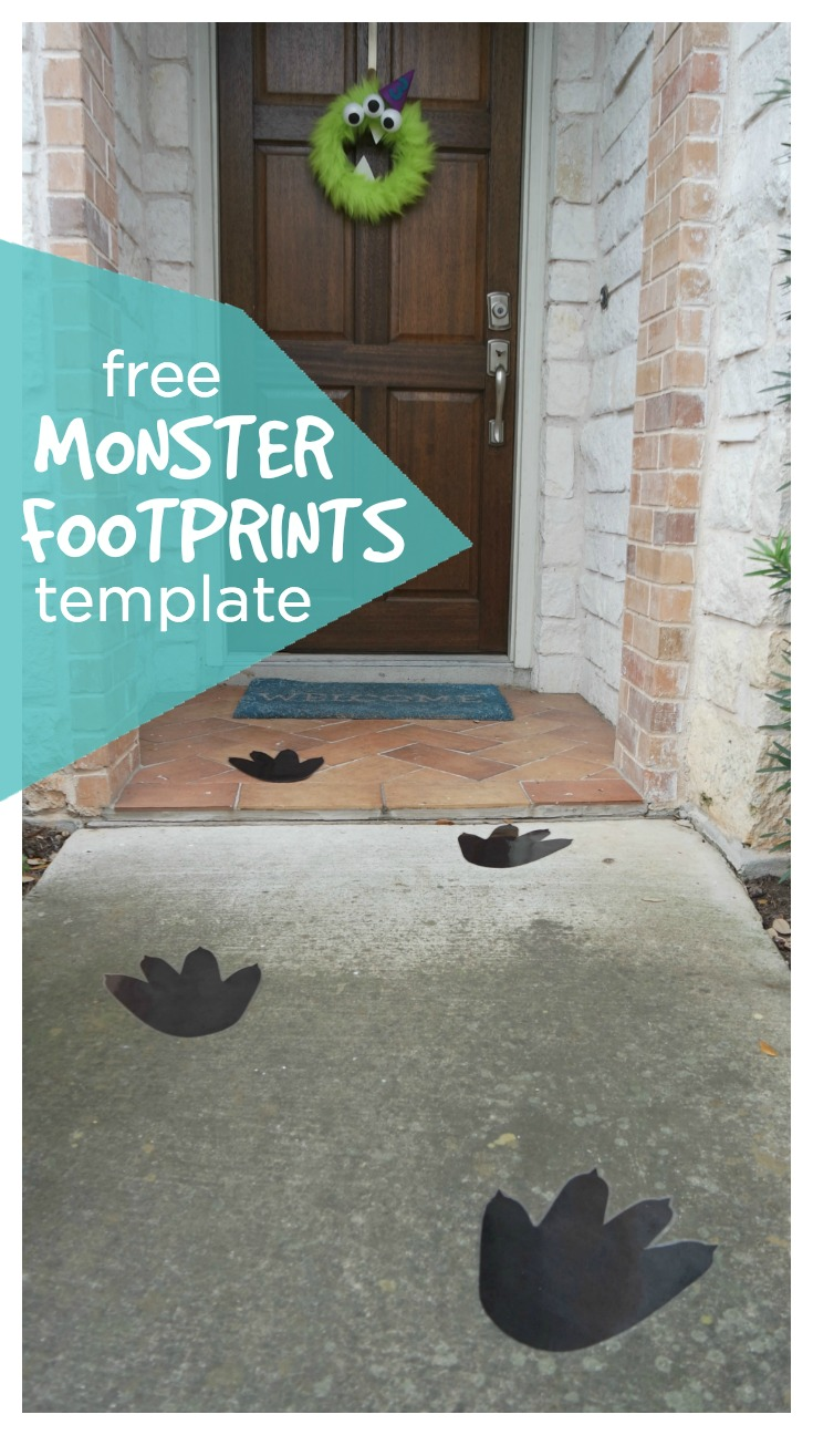 Add these monster footprints to your walkway for a fun, easy addition to your monster door decoration. Perfect for a monster birthday party or spooking trick or treaters on Halloween. Free template included. #toddlerbirthday #monsterparty #monsterbirthday