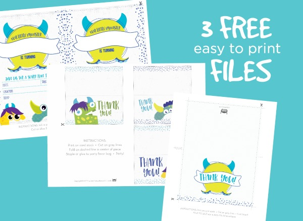 Free Monster Party Printables - monster-themed invite, party favor, and thank you card downloads // monster invitation, monster birthday invitation, monster party favor tags, monster party favor bags, monster thank you card #toddlerbirthday #monsterparty #monsterbirthday