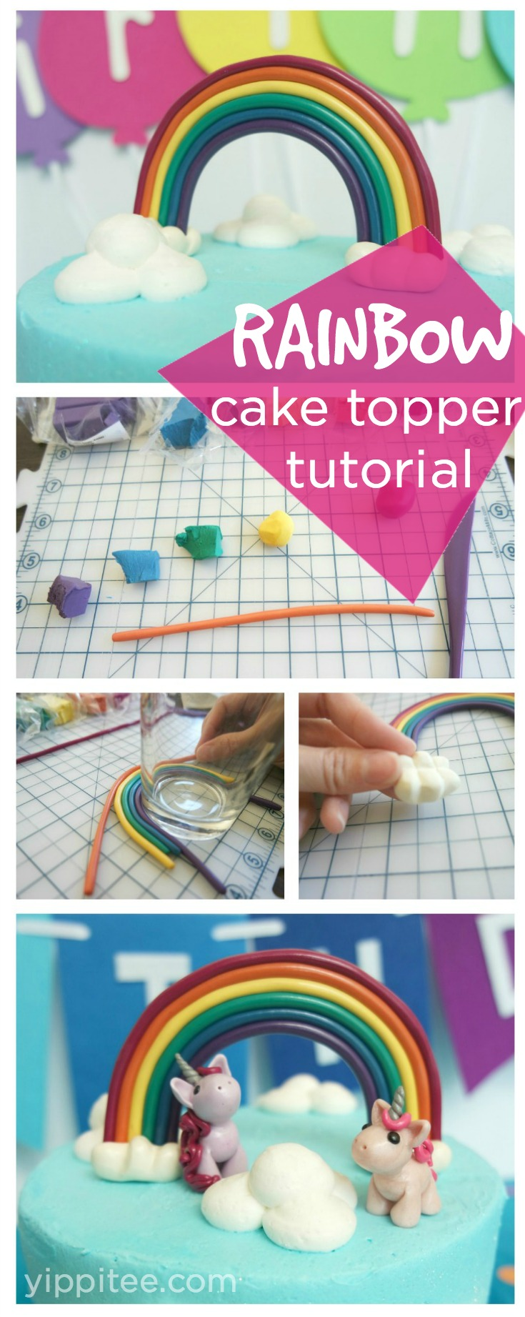 Learn how to make a rainbow cake topper out of polymer clay in this simple, easy-to-follow rainbow cake topper tutorial. #rainbowparty #rainbowbirthday #unicornbirthday #unicornparty #unicorncake #rainbowcake