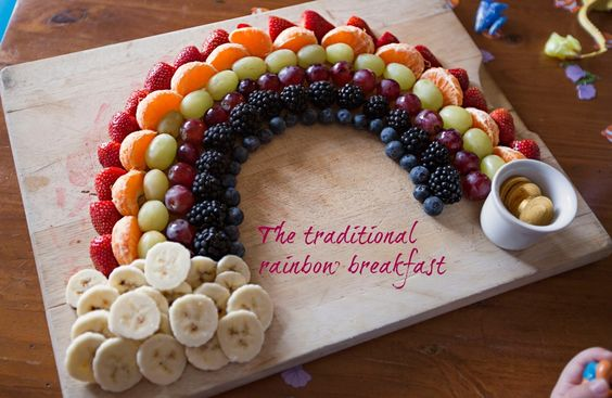 Fruit Rainbow // 15 Birthday Breakfast Ideas You'll Want to Make Right Now | Delicious and fun birthday breakfast ideas for babies, toddlers, and big kids too. Including both indulgently sweet and healthy unique breakfast options. #birthdaybreakfast #birthday #toddlerbirthday