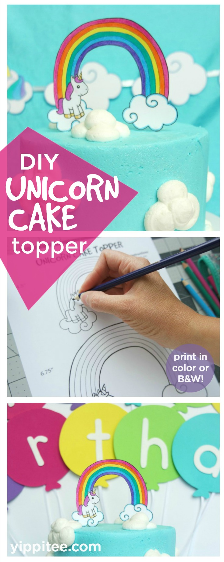 DIY Unicorn Cake Topper - Free printable unicorn cake topper that you can print in full color or as a black and white coloring page to customize to fit your party theme. Rainbow unicorn party decoration #unicornparty #unicorncake #unicornbirthday #rainbowcake