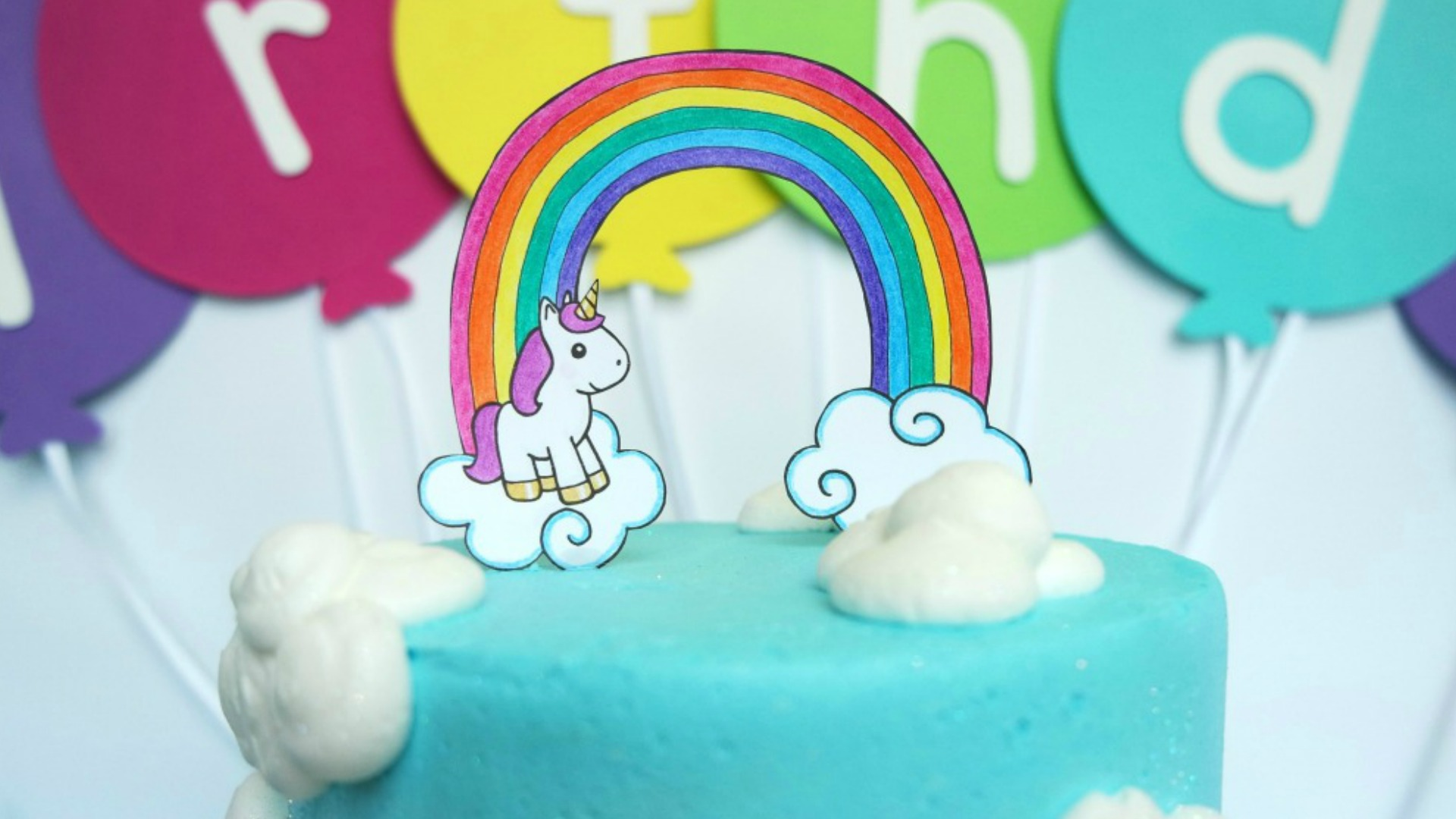 DIY Unicorn Cake Topper Free Printable