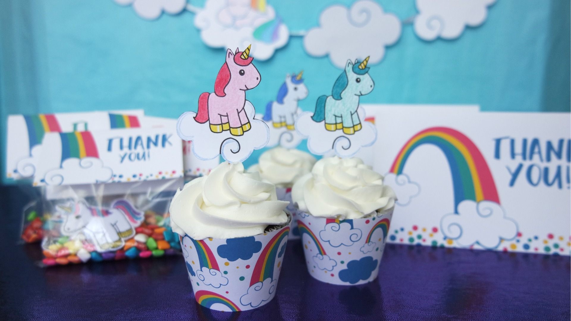 Free Unicorn Printables - rainbow unicorn themed cupcake wrappers, toppers, party favor tags, and thank you card downloads // unicorn party favors, rainbow unicorn thank you card, unicorn cupcake toppers #toddlerbirthday #unicornparty #unicornbirthday #rainbowparty #rainbowbirthday #rainbowunicorn