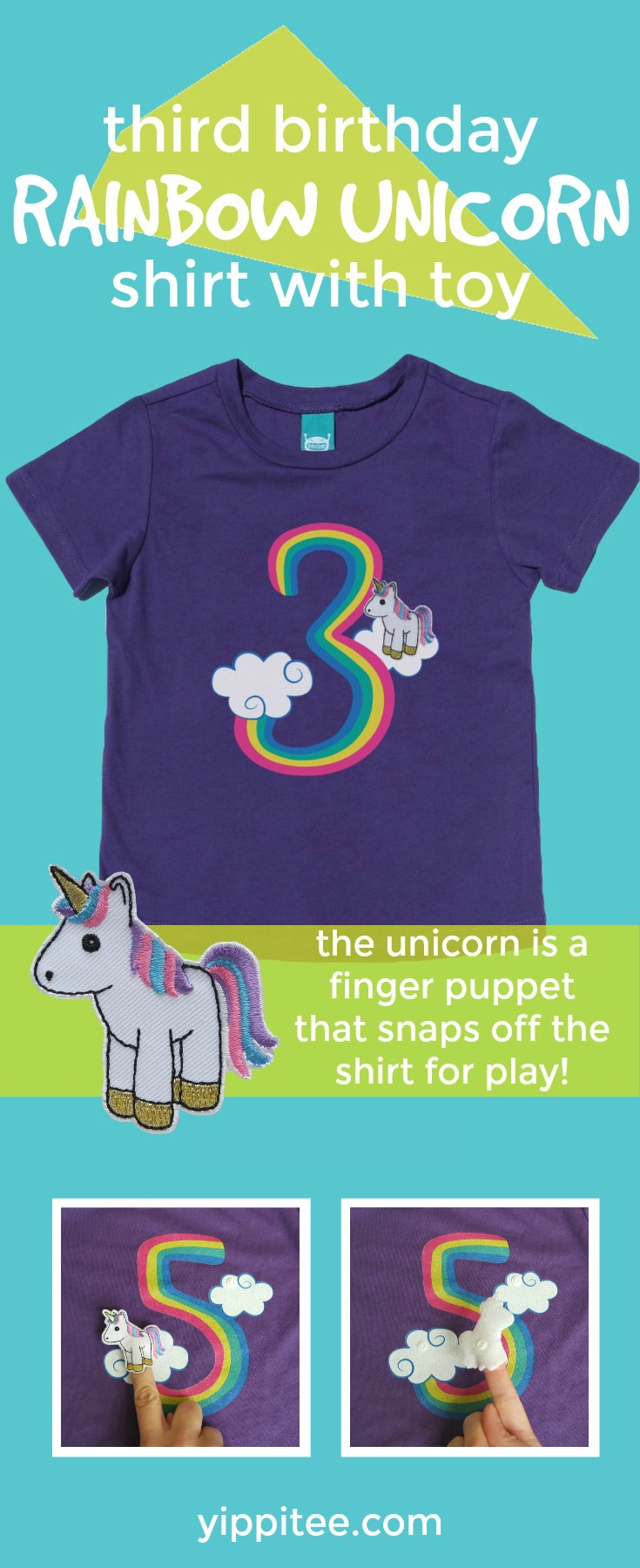 The cutest unicorn birthday shirt ever! A unicorn finger puppet snaps on and off this adorable unicorn 3rd birthday shirt for play on-the-go. Perfect for milestone photos, the birthday party, and any day after. #unicornparty #unicornbirthday #unicornshirt #rainbowunicorn #rainbowbirthday