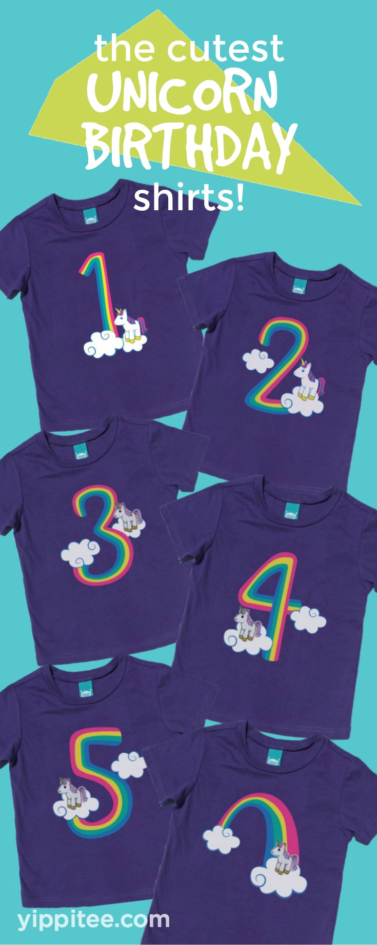 These adorable rainbow unicorn birthday shirts have finger puppets that snap on and off for play on-the-go! It's the perfect shirt for your little one's unicorn birthday party. // kids birthday shirts, birthday girl shirt, birthday boy shirt, toddler birthday shirt #birthdayshirt #kidsbirthdayshirts #birthdaygirl #birthdayboy #toddlerbirthday #unicornparty #unicornbirthday #rainbowparty #rainbowbirthday #unicornshirt #rainbowshirt #rainbowunicorn