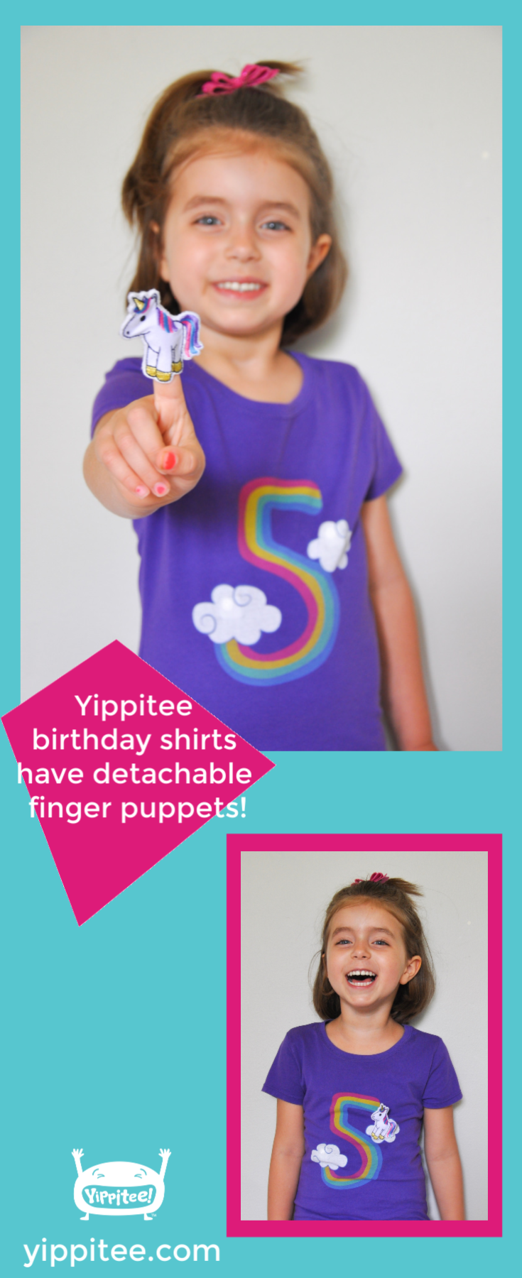 Such a cute unicorn birthday t-shirt! The unicorn is a finger puppet that snaps on and off the clouds. Perfect for a unicorn 5th birthday party, milestone photos, and every day wear. #unicornparty #unicornbirthday #unicornshirt #rainbowunicorn #rainbowbirthday