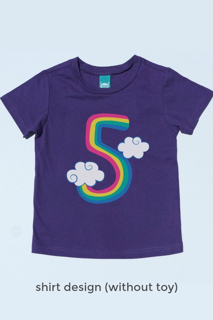 The cutest unicorn birthday t-shirt there ever was! An embroidered unicorn finger puppet snaps on and off this adorable unicorn 5th birthday shirt for play on-the-go. Perfect for milestone photos, the birthday party, and really every day. #unicornparty #unicornbirthday #unicornshirt #rainbowunicorn #rainbowbirthday // girls unicorn t shirt, unicorn fifth birthday shirt, unicorn shirt, rainbow unicorn shirt, 5 year old birthday shirt, five year old birthday shirt, fifth birthday shirt, 5th birthday t-shirt, kids birthday shirts, birthday girl shirt, birthday boy shirt, toddler birthday shirt #birthdayshirt #kidsbirthdayshirts #birthdaygirl #birthdayboy #toddlerbirthday