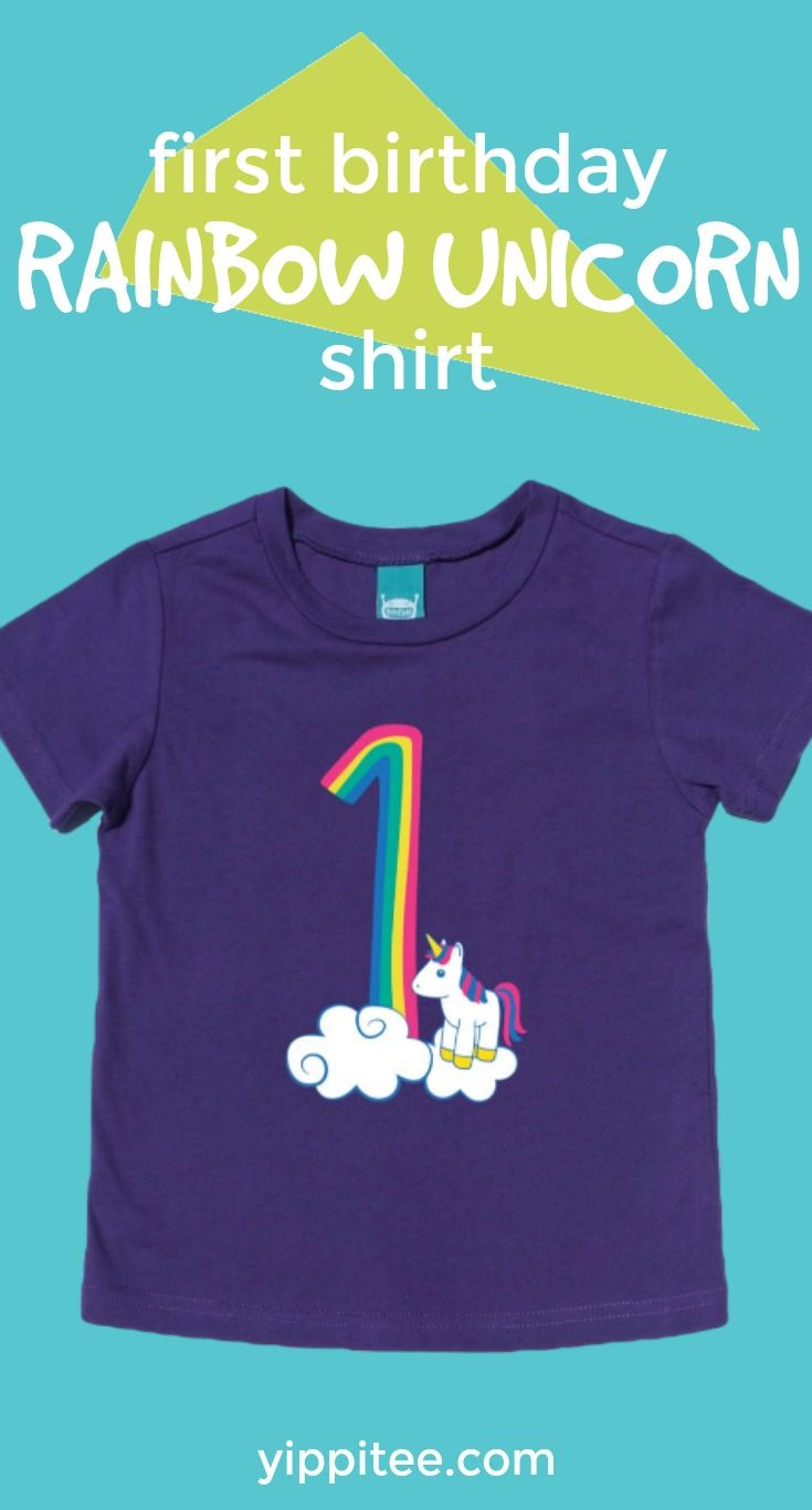 f946713aa The cutest rainbow unicorn first birthday shirt there ever was! Celebrate  this big milestone with