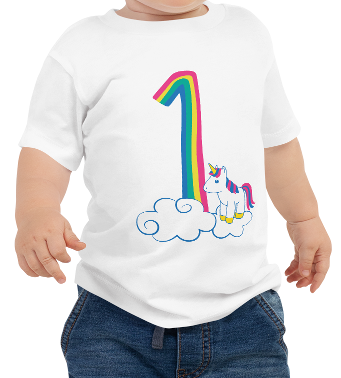 The cutest rainbow unicorn first birthday shirt there ever was! Celebrate this big milestone with an adorable 1st birthday shirt that your little one can wear all year. Perfect for the cake smash, birthday party, and every day. #unicornparty #unicornbirthday #unicornshirt #rainbowunicorn #rainbowbirthday