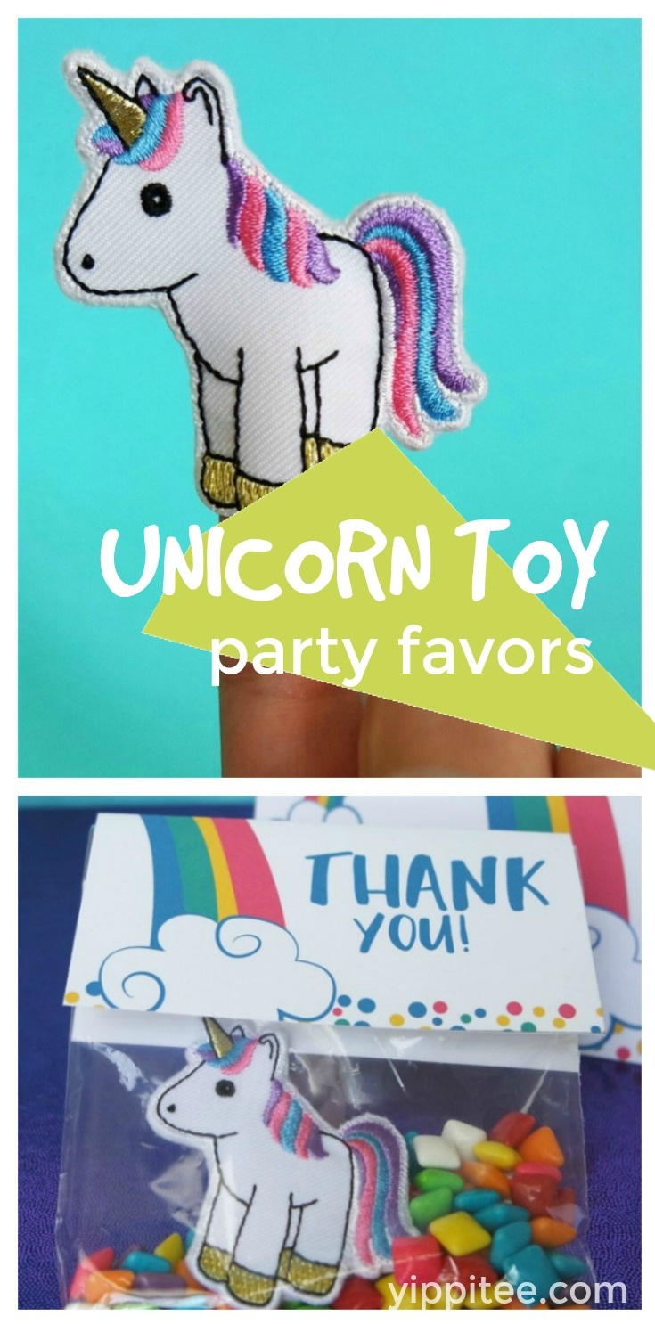 These beautifully embroidered unicorn finger puppets make a truly unique unicorn toy. Perfect unicorn party favors and as gifts (think birthdays, stocking stuffers, even in Easter eggs)! #unicornparty #unicornbirthday #unicornpartyfavors