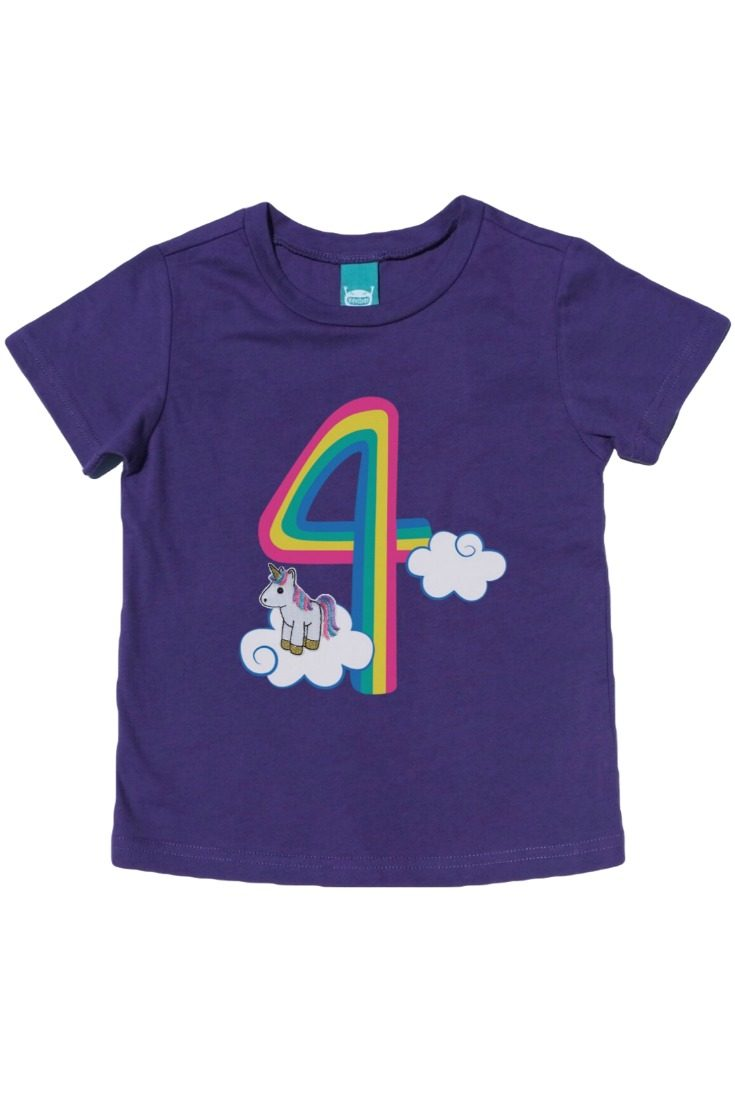 This adorable unicorn birthday t-shirt has a detachable unicorn finger puppet that snaps on and off the clouds! Perfect for milestone photos, the birthday party, and really every day. #unicornparty #unicornbirthday #unicornshirt #rainbowunicorn #rainbowbirthday