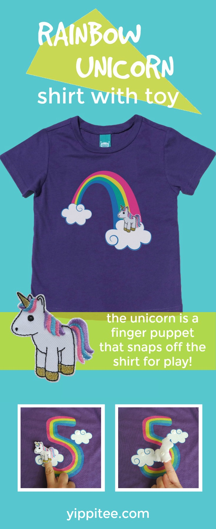 This adorable unicorn birthday t-shirt has a detachable unicorn finger puppet! Available in youth through adult sizes for unicorn lovers of any age! #unicornparty #unicornbirthday #unicornshirt #rainbowunicorn #rainbowbirthday // girls unicorn t shirt, unicorn shirt, rainbow unicorn shirt, kids birthday shirts, birthday girl shirt, birthday boy shirt, toddler birthday shirt #birthdayshirt #kidsbirthdayshirts #birthdaygirl #birthdayboy #toddlerbirthday