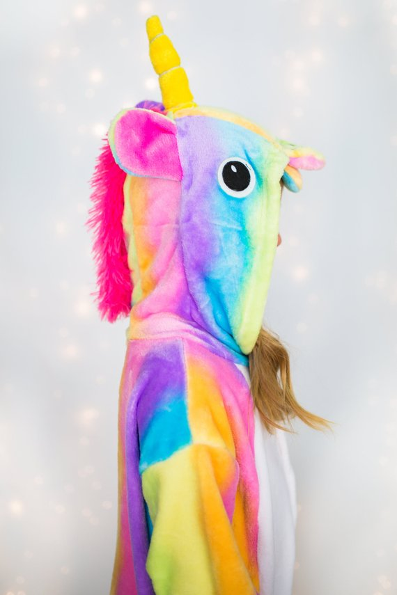 Unicorn hooded PJs // 11 amazingly bright, bold, and fun rainbow unicorn costume ideas you can DIY or buy #unicorn #rainbowunicorn #unicorncostume #unicornparty #unicornbirthday