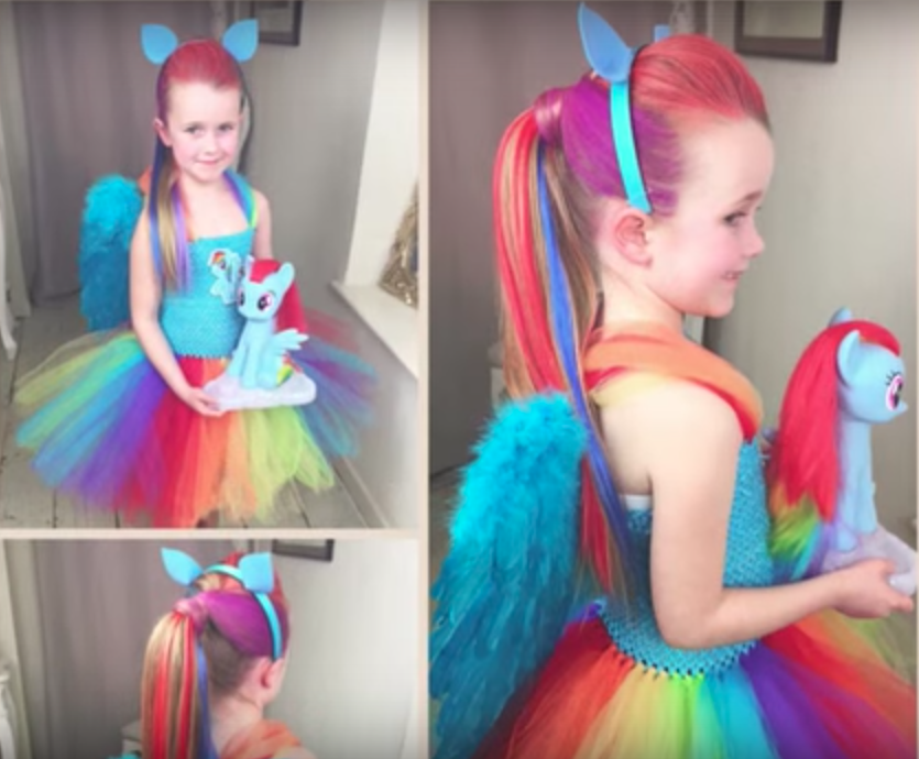 Rainbow Dash hair tutorial // 11 amazingly bright, bold, and fun rainbow unicorn costume ideas you can DIY or buy #unicorn #rainbowunicorn #unicorncostume #unicornparty #unicornbirthday