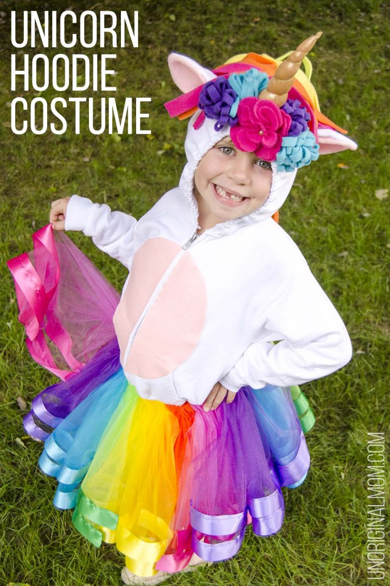 DIY unicorn hoodie and tutu // 11 amazingly bright, bold, and fun rainbow unicorn costume ideas you can DIY or buy #unicorn #rainbowunicorn #unicorncostume #unicornparty #unicornbirthday