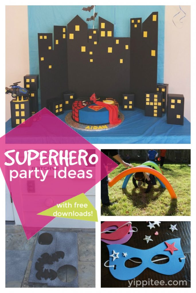Superhero Birthday Party Ideas - easy and fun superhero games and party decorations you can DIY, from a Gotham City backdrop to Captain America's shield toss #superhero #superherobirthday #superheroparty