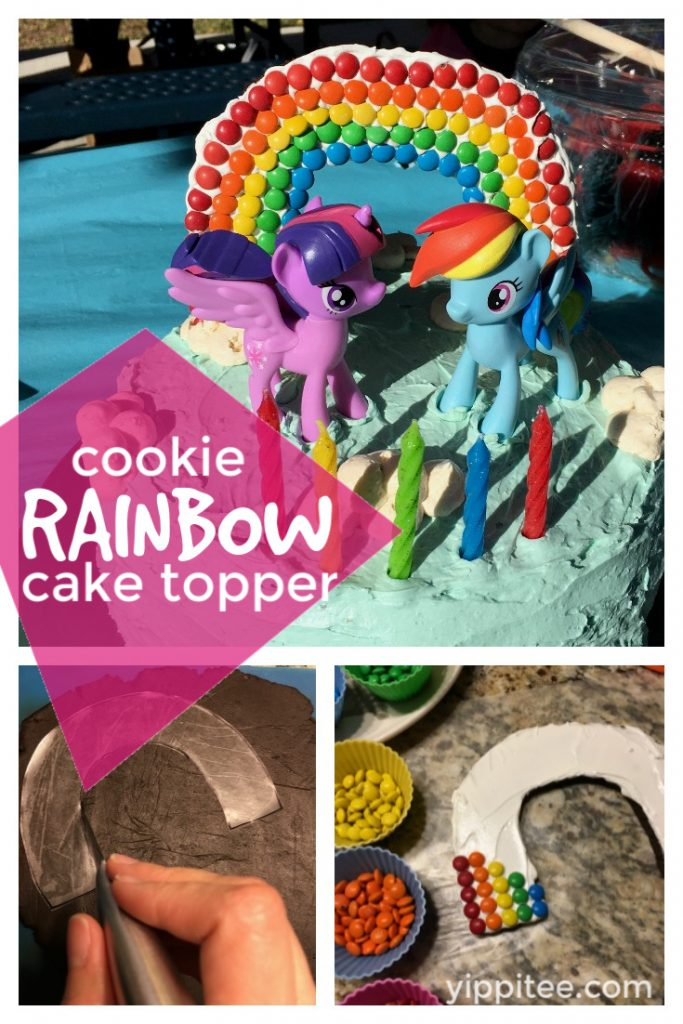 How to make a DIY rainbow cake topper using rainbow shaped cookies. A fun way to decorate a simple cake and wow your kiddo! #rainbowcake #rainbowbirthdayparty #mylittleponyparty #mlpparty #unicornparty