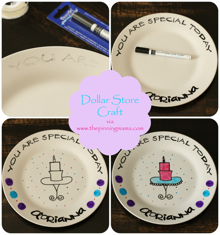 DIY birthday plate // Stuck inside during your little one's birthday? There are plenty of fun ways to have a birthday without a party. Here are 9 different birthday celebration ideas at home. #birthdaygirl #birthdayboy #toddlerbirthday