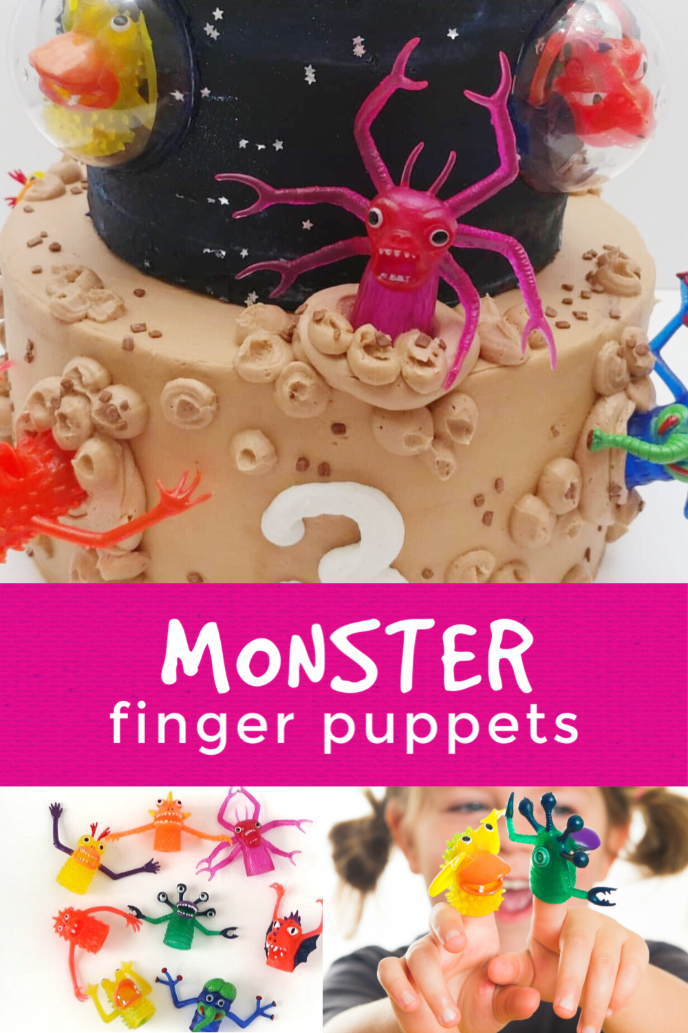 These silly monster finger puppets are super versatile. They make amazing cake or cupcake toppers as well as delightful monster party favors. #monsterparty #monsterbirthday