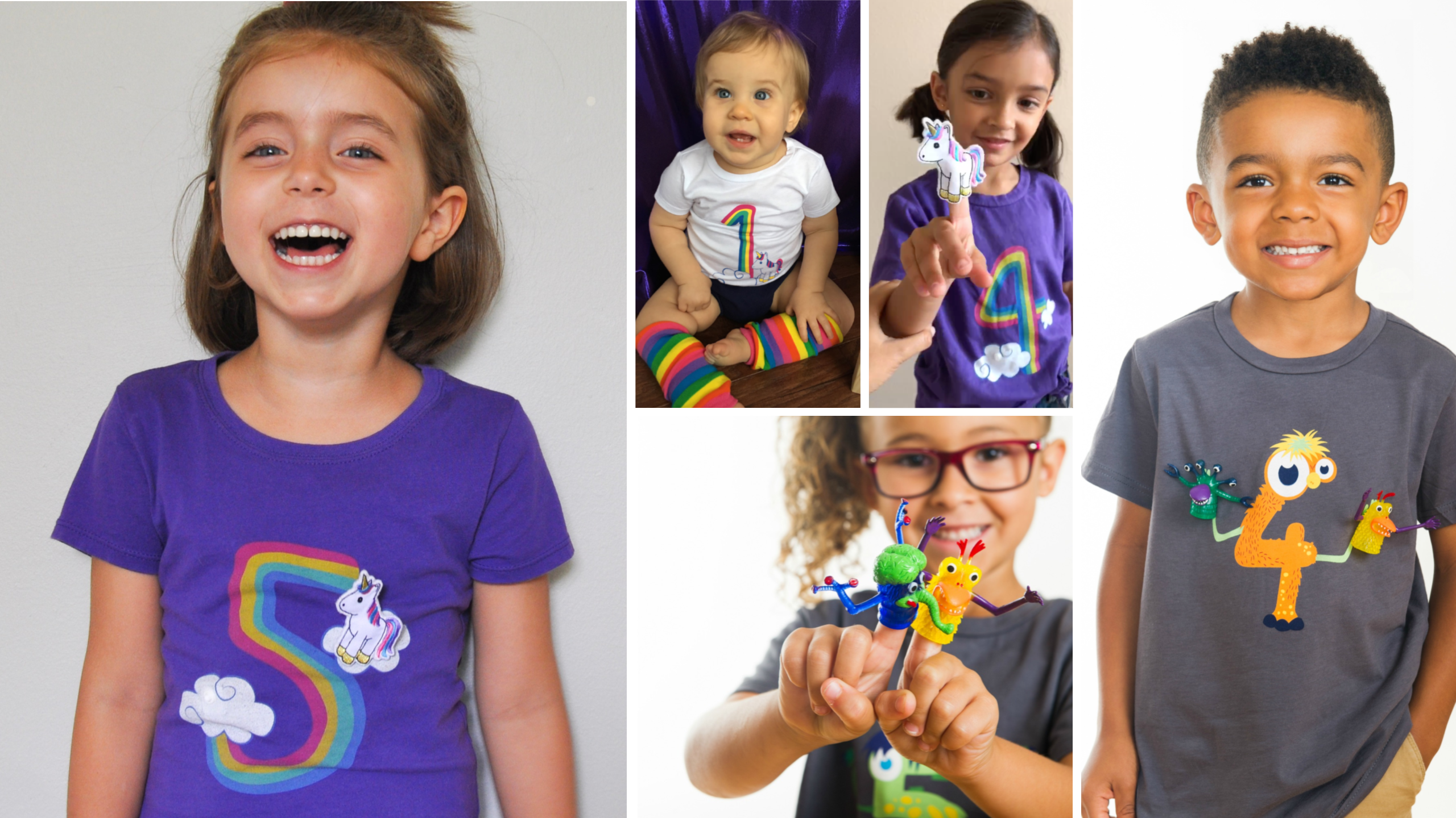 The coolest kids birthday shirts there ever were! Detachable finger puppets snap on and off to keep your kiddo entertained anywhere. // #birthdayshirt #kidsbirthdayshirts #monsterparty #unicornparty #rainbowbirthday #unicornbirthday #unicornshirt #rainbowunicorn #monsterbirthday